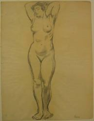 "Benjamin ""Benno"" Greenstein (American, 1901-1980). (A Nude Woman with Arms Upraised), n.d. Graphite and possibly charcoal on thin paper, Sheet: 13 3/4 x 10 1/2 in. (34.9 x 26.7 cm). Brooklyn Museum, Anonymous gift, 38.190. © artist or artist's estate"