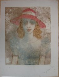 Augustus Peck (American, 1906-1975). Girl with Red Hat, 1938. Color monotype on paper, Sheet: 20 x 15 1/8 in. (50.8 x 38.4 cm). Brooklyn Museum, Dick S. Ramsay Fund, 38.219. © artist or artist's estate