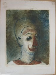 Augustus Peck (American, 1906-1975). Head of a Clown (Clown with Red Nose), 1938. Monotype in color on white wove paper, Sheet: 20 1/4 x 15 1/16 in. (51.4 x 38.3 cm). Brooklyn Museum, By exchange, 38.222. © artist or artist's estate