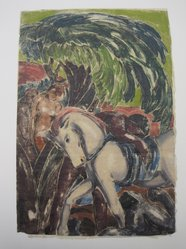 Moritz Melzer (German, 1877-1966). White Horse with Nude Figures, 20th century. Woodcut on Japan paper backed with gold leaf, Sheet: 19 3/8 x 12 7/8 in. (49.2 x 32.7 cm). Brooklyn Museum, By exchange, 39.398. © artist or artist's estate