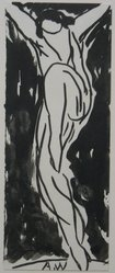 Abraham Walkowitz (American, born Russia, 1878-1965). Dancer, n.d. Brush drawing with India ink on paper, Sheet: 6 3/4 x 2 5/8 in. (17.1 x 6.7 cm). Brooklyn Museum, Gift of the artist, 39.468a. © artist or artist's estate