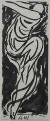 Abraham Walkowitz (American, born Russia, 1878-1965). Dancer, n.d. Brush drawing with India ink on paper, Sheet: 6 3/4 x 2 5/8 in. (17.1 x 6.7 cm). Brooklyn Museum, Gift of the artist, 39.468b. © artist or artist's estate