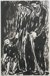 Abraham Walkowitz (American, born Siberia, 1878-1965). Man, Woman and Child Standing, n.d. India ink and brush on paper, Sheet: 10 1/2 x 6 3/4 in. (26.7 x 17.1 cm). Brooklyn Museum, Gift of the artist, 39.509. © artist or artist's estate
