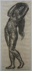 Abraham Walkowitz (American, born Russia, 1878-1965). Nude Figure with Arms Above Head, n.d. Charcoal on paper, Sheet: 12 1/2 x 5 3/8 in. (31.8 x 13.7 cm). Brooklyn Museum, Gift of the artist, 39.523. © artist or artist's estate