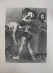 Raphael Soyer (American, born Russia, 1899-1987). Backstage, 1935. Lithograph on wove paper, sheet: 20 15/16 x 15 1/2 in. (53.2 x 39.4 cm). Brooklyn Museum, Gift of New York World's Fair, Department of Contemporary Art, 39.625. © Estate of Raphael Soyer