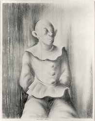 Russell T. Limbach (American, 1904-1971). Clown, 1938. Lithograph from one stone (beige) on wove paper, 17 15/16 x 13 15/16 in. (45.6 x 35.4 cm). Brooklyn Museum, Dick S. Ramsay Fund, 39.8.3. © artist or artist's estate