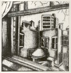 Pamela Ruby Bianco (American, born England, 1906-1994). View from a Window, ca. 1930-1940. Lithograph on paper, Overall: 12 13/16 x 10 5/8 in. (32.5 x 27 cm). Brooklyn Museum, Gift of Elizabeth Riefstahl, 40.350. © artist or artist's estate