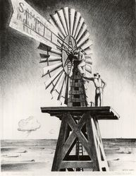 Peter Hurd (American, 1904-1984). The Windmill Crew. Lithograph on wove paper, 15 11/16 x 12 1/8 in. (39.8 x 30.8 cm). Brooklyn Museum, Dick S. Ramsay Fund, 41.1165. © artist or artist's estate
