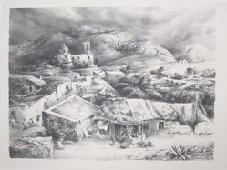Ira Moskowitz (American, 1912-1985). The Village of Zimapan, Mexico, 1940. Lithograph on paper, Sheet: 12 5/8 x 17 in. (32.1 x 43.2 cm). Brooklyn Museum, Gift of the artist, 41.1171. © artist or artist's estate