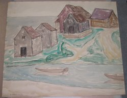 Abraham Walkowitz (American, born Siberia, 1878-1965). Fishermen's Houses. Watercolor, black crayon on paper, 15 3/8 x 18 3/8 in. (39.1 x 46.7 cm). Brooklyn Museum, Gift of the artist, 41.158. © artist or artist's estate