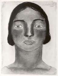 Abraham Walkowitz (American, born Siberia, 1878-1965). Woman's Head #15, 1928. Pastel on gray paper, 11 5/8 x 8 11/16 in. (29.5 x 22.1 cm). Brooklyn Museum, Gift of the artist, 41.173. © artist or artist's estate