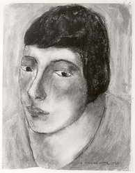 Abraham Walkowitz (American, born Russia, 1878-1965). Woman's Head #16, 1928. Pastel on paper, 12 1/2 x 9 1/2 in. (31.8 x 24.1 cm). Brooklyn Museum, Gift of the artist, 41.174. © artist or artist's estate