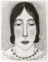 Abraham Walkowitz (American, born Siberia, 1878-1965). Woman's Head #17, ca. 1927-1928. Pastel on paper, 12 1/2 x 9 1/2 in. (31.8 x 24.1 cm). Brooklyn Museum, Gift of the artist, 41.175. © artist or artist's estate
