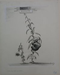 Ross A. Lewis (American, 1902-1977). Jack and the Cornstalk, 1938. Black conte crayon with touches of white correction fluid on wove paper, sheet: 14 1/16 x 11 3/16 in. (35.7 x 28.4 cm). Brooklyn Museum, Gift of the artist, 41.198. © artist or artist's estate