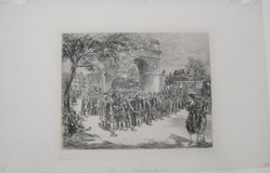 John Sloan (American, 1871-1951). Busses in Washington Square, 1925. Etching on wove paper, 7 13/16 x 9 7/8 in. (19.8 x 25.1 cm). Brooklyn Museum, Dick S. Ramsay Fund, 41.439. © artist or artist's estate