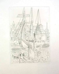 Raoul Dufy (French, 1877-1953). Etching for Chapter III of La Belle Enfant. Etching, Sheet: 12 9/16 x 9 3/4 in. (31.9 x 24.8 cm). Brooklyn Museum, Charles Stewart Smith Memorial Fund, 41.858.5. © artist or artist's estate