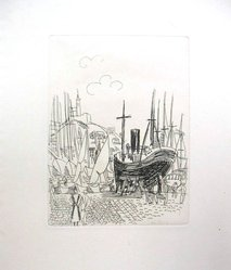 Raoul Dufy (French, 1877-1953). Etching for Chapter VI of La Belle Enfant. Etching, Sheet: 12 5/8 x 5 3/4 in. (32 x 14.6 cm). Brooklyn Museum, Charles Stewart Smith Memorial Fund, 41.858.7. © artist or artist's estate