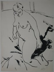 Hans Foy (American, 1894-1971). Nude, n.d. Ink on paper, sheet: 19 15/16 x 14 15/16 in. (50.6 x 37.9 cm). Brooklyn Museum, Gift of C. Phillip Boyer, 42.344. © artist or artist's estate