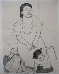 Diego Rivera (Mexican, 1886-1957). Mother and Child, 1926. Ink, brush and charcoal on paper, sheet: 24 1/2 x 18 7/8 in. (62.2 x 47.9 cm). Brooklyn Museum, Carll H. de Silver Fund, 44.125.2. © artist or artist's estate