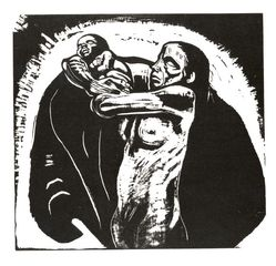Käthe Kollwitz (German, 1867-1945). The Sacrifice (Das Opfer), 1922-1923. Woodcut on heavy Japan paper, Image: 14 1/2 x 15 13/16 in. (36.8 x 40.2 cm). Brooklyn Museum, Carll H. de Silver Fund, 44.201.1. © artist or artist's estate