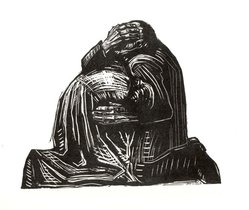 Käthe Kollwitz (German, 1867-1945). The Parents (Die Eltern), 1923. Woodcut on heavy Japan paper, Image: 13 3/4 x 16 3/4 in. (34.9 x 42.5 cm). Brooklyn Museum, Carll H. de Silver Fund, 44.201.3. © artist or artist's estate