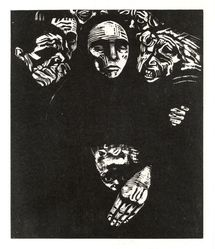 Käthe Kollwitz (German, 1867-1945). The People (Das Volk), 1922-1923. Woodcut on heavy Japan paper, Image: 14 3/16 x 11 7/8 in. (36 x 30.2 cm). Brooklyn Museum, Carll H. de Silver Fund, 44.201.7. © artist or artist's estate