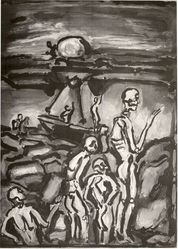 Georges Rouault (French, 1871-1958). Paysage, 1939. Etching, heliogravure and roulette on laid paper, 24 1/8 x 17 15/16 in. (61.2 x 45.5 cm). Brooklyn Museum, Carll H. de Silver Fund, 44.202. © artist or artist's estate