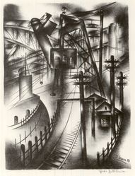 Mrs. Jolan Gross-Bettelheim (American, born Hungary, 1900-1970). Elevator, 20th century. Lithograph on white wove paper, Image: 13 5/16 x 9 13/16 in. (33.8 x 25 cm). Brooklyn Museum, Dick S. Ramsay Fund, 44.227. © artist or artist's estate