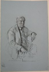 Reginald Marsh (American, 1898-1954). Portrait of Abraham Walkowitz, February 24, 1943. Graphite, ink, and white chalk on blue paper, Sheet: 18 7/16 x 12 7/16 in. (46.8 x 31.6 cm). Brooklyn Museum, Gift of Abraham Walkowitz, 44.71. © artist or artist's estate