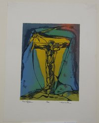 Henry Mark (American, born 1915). Crucifixion, 1944. Serigraph on white wove paper, Image: 8 1/16 x 6 in. (20.5 x 15.2 cm). Brooklyn Museum, Dick S. Ramsay Fund, 45.12.2. © artist or artist's estate