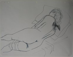 Augustus Peck (American, 1906-1975). Reclining Nude, n.d. Pen and ink and graphite on notebook paper with punched holes, Sheet: 8 1/2 x 11 in. (21.6 x 27.9 cm). Brooklyn Museum, Gift of the artist, 46.206.1. © artist or artist's estate