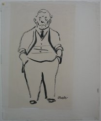 William Gropper (American, 1897-1977). Portrait of Abraham Walkowitz, 1943. Ink and brush on paper, sheet: 15 1/8 x 12 1/2 in. (38.4 x 31.8 cm). Brooklyn Museum, Gift of Abraham Walkowitz, 47.146.3. © artist or artist's estate