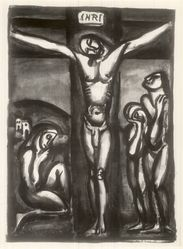 Georges Rouault (French, 1871-1958). Christ en Croix avec Disciples, 1923. Etching on wove paper, 25 1/16 x 19 9/16 in. (63.6 x 49.7 cm). Brooklyn Museum, A. Augustus Healy Fund, 48.102.1. © artist or artist's estate