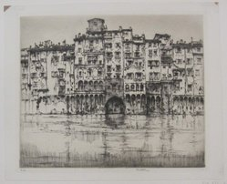 Ernest David Roth (American, 1879-1964). Florentine Palaces, 1927. Etching on laid paper, Mat: 14 3/16 x 19 1/8 in. (36.1 x 48.6 cm). Brooklyn Museum, Gift of William Lybrand, 48.193.78. © artist or artist's estate