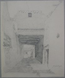 Edwin Howland Blashfield (American, 1848-1936). El Manshah, n.d. Graphite on paper mounted to paperboard, Sheet: 11 x 9 1/8 in. (27.9 x 23.2 cm). Brooklyn Museum, Gift of John H. Field, 48.217.14a. © artist or artist's estate