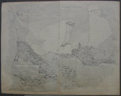 Edwin Howland Blashfield (American, 1848-1936). Gebel Silsila, n.d. Graphite on preprinted graph paper mounted to paper and then to paperboard, Sheet: 5 11/16 x 7 1/4 in. (14.4 x 18.4 cm). Brooklyn Museum, Gift of John H. Field, 48.217.15c. © artist or artist's estate