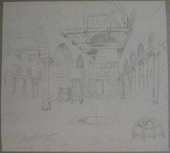 Edwin Howland Blashfield (American, 1848-1936). El Moallanga Church in Old Cairo, n.d. Graphite on paper mounted to paperboard, Sheet: 10 3/4 x 11 15/16 in. (27.3 x 30.3 cm). Brooklyn Museum, Gift of John H. Field, 48.217.4. © artist or artist's estate