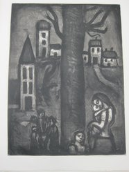 Georges Rouault (French, 1871-1958). Au Vieux Faubourg des Longues Peines., 1922. Etching, aquatint, and heliogravure on laid Arches paper, 22 5/16 x 16 9/16 in. (56.6 x 42 cm). Brooklyn Museum, Frank L. Babbott Fund, 50.15.10. © artist or artist's estate