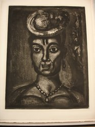 Georges Rouault (French, 1871-1958). Femme Affranchie, à Quatorze Heures Chante Midi., 1933. Etching, aquatint, and heliogravure on laid Arches paper, 21 15/16 x 16 15/16 in. (55.8 x 43 cm). Brooklyn Museum, Frank L. Babbott Fund, 50.15.17. © artist or artist's estate