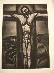 Georges Rouault (French, 1871-1958). Sous un Jésus en Croix Oublié Là., 1926. Etching, aquatint, and heliogravure on laid Arches paper, 22 3/4 x 16 5/16 in. (57.8 x 41.5 cm). Brooklyn Museum, Frank L. Babbott Fund, 50.15.20. © artist or artist's estate