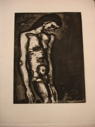 Georges Rouault (French, 1871-1958). Toujours Flagellé..., 1922. Etching, aquatint, and heliogravure on laid Arches paper, 19 1/8 x 14 7/16 in. (48.5 x 36.6 cm). Brooklyn Museum, Frank L. Babbott Fund, 50.15.3. © artist or artist's estate