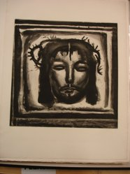 Georges Rouault (French, 1871-1958). Et Véronique su Tendre lin Pass Encore sur le Chemin..., 1921. Etching, aquatint, and heliogravure on laid Arches paper, 17 1/4 x 16 7/8 in. (43.8 x 42.8 cm). Brooklyn Museum, Frank L. Babbott Fund, 50.15.33. © artist or artist's estate