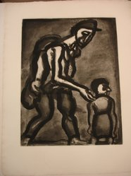 Georges Rouault (French, 1871-1958). Se Réfugie en ton Coeur, Va-Nu-Pieds de Malheur., 1922. Etching, aquatint, and heliogravure on laid Arches paper, 19 x 14 5/8 in. (48.3 x 37.2 cm). Brooklyn Museum, Frank L. Babbott Fund, 50.15.4. © artist or artist's estate