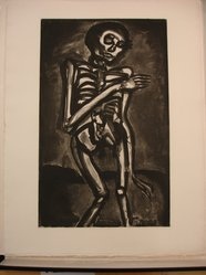 Georges Rouault (French, 1871-1958). La Mort l'a Pris Comme it Sortait du Lit d'Orties., 1922. Etching, aquatint, and heliogravure on laid Arches paper, 21 5/16 x 13 1/8 in. (54.1 x 33.4 cm). Brooklyn Museum, Frank L. Babbott Fund, 50.15.45. © artist or artist's estate