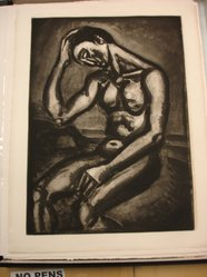 Georges Rouault (French, 1871-1958). Solitaire en Cette Vie d-Embûches et de Malices, 1929. Etching, aquatint, and heliogravure on laid Arches paper, 22 11/16 x 16 5/16 in. (57.6 x 41.5 cm). Brooklyn Museum, Frank L. Babbott Fund, 50.15.5. © artist or artist's estate