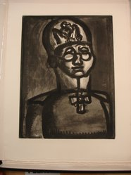 Georges Rouault (French, 1871-1958). Loin du Sourire de Reims., 1922. Etching, aquatint, and heliogravure on laid Arches paper, 20 3/16 x 15 1/8 in. (51.2 x 38.4 cm). Brooklyn Museum, Frank L. Babbott Fund, 50.15.51. © artist or artist's estate