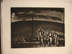 Georges Rouault (French, 1871-1958). Il Arrive Parfois que la Route Soit Belle..., 1922. Etching, aquatint, and heliogravure on laid Arches paper, 14 5/8 x 19 7/8 in. (37.2 x 50.5 cm). Brooklyn Museum, Frank L. Babbott Fund, 50.15.9. © artist or artist's estate