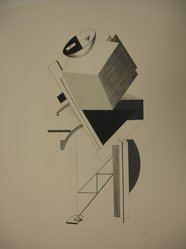 El Lissitzky (Russian, 1890-1941). Old Man - Head 2 Paces Back  (Alter - Kopf 2 Schritt Hinter), 1923. Lithograph on heavy wove paper, 15 3/8 x 7 7/8 in. (39 x 20 cm). Brooklyn Museum, By exchange, 50.191.8. © artist or artist's estate