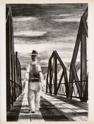 Elmer Schooley (American, born 1916). Gallinas Bridge, 1950. Lithograph on paper, 15 7/8 x 10 7/8 in. (40.3 x 27.6 cm). Brooklyn Museum, Dick S. Ramsay Fund, 51.48. © artist or artist's estate