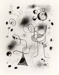 Joan Miró (Spanish, 1893-1983). Abstraction, 1944. Lithograph on heavy wove paper, 26 3/16 x 18 1/2 in. (66.5 x 47 cm). Brooklyn Museum, Gift of Curt Valentin, 52.59. © artist or artist's estate